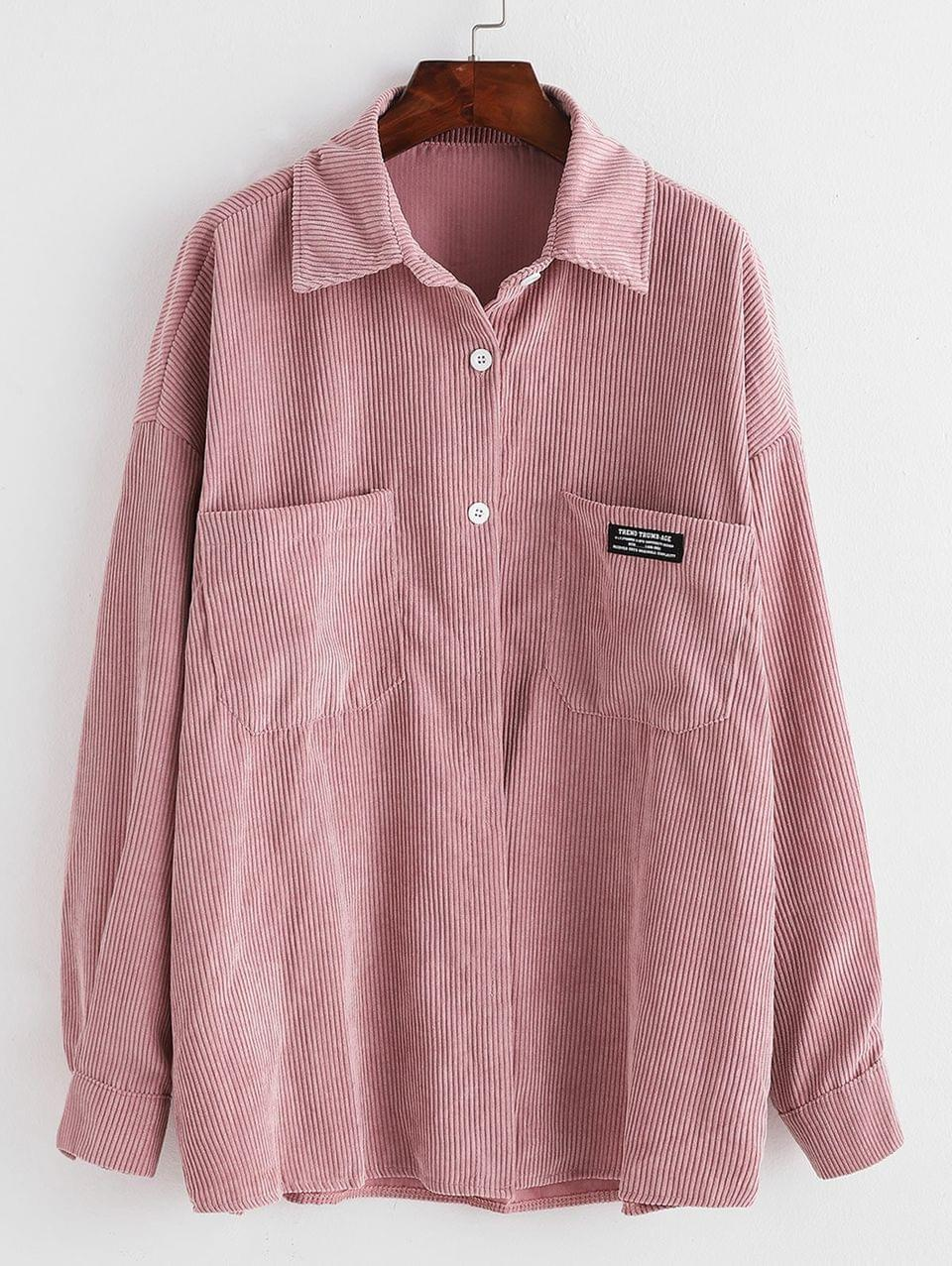 Women's Label Front Pocket Oversized Corduroy Shirt - Pink