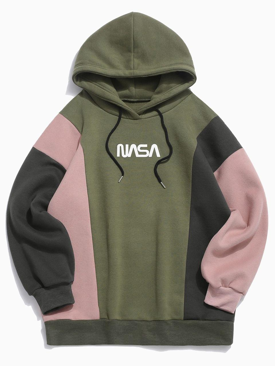 Men's Colorblocking Spliced Letter Drawstring Pullover Hoodie - Army Green L
