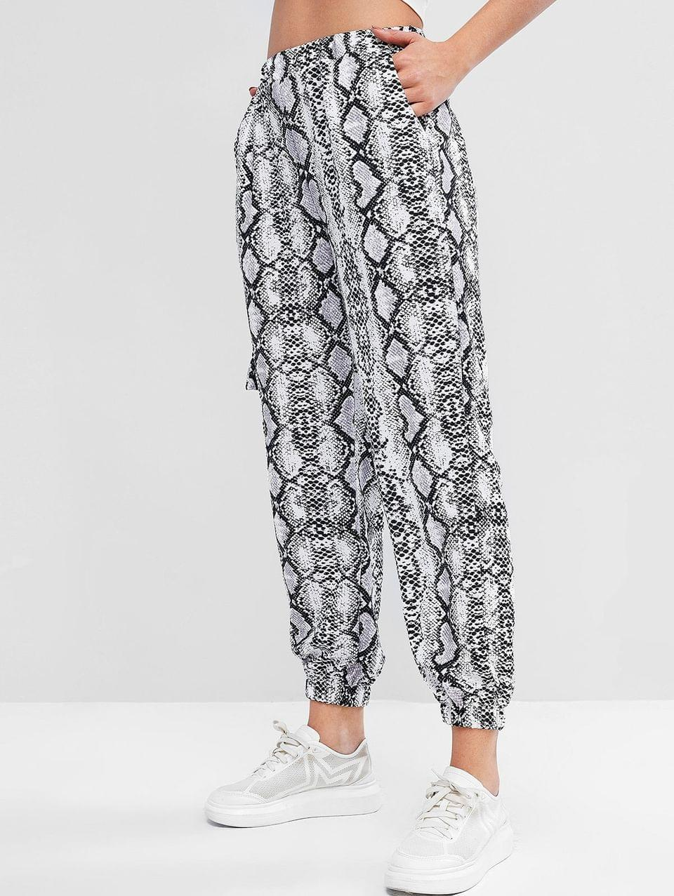 Women's Snakeskin Print High Waist Jogger Pants - Multi-b Xl