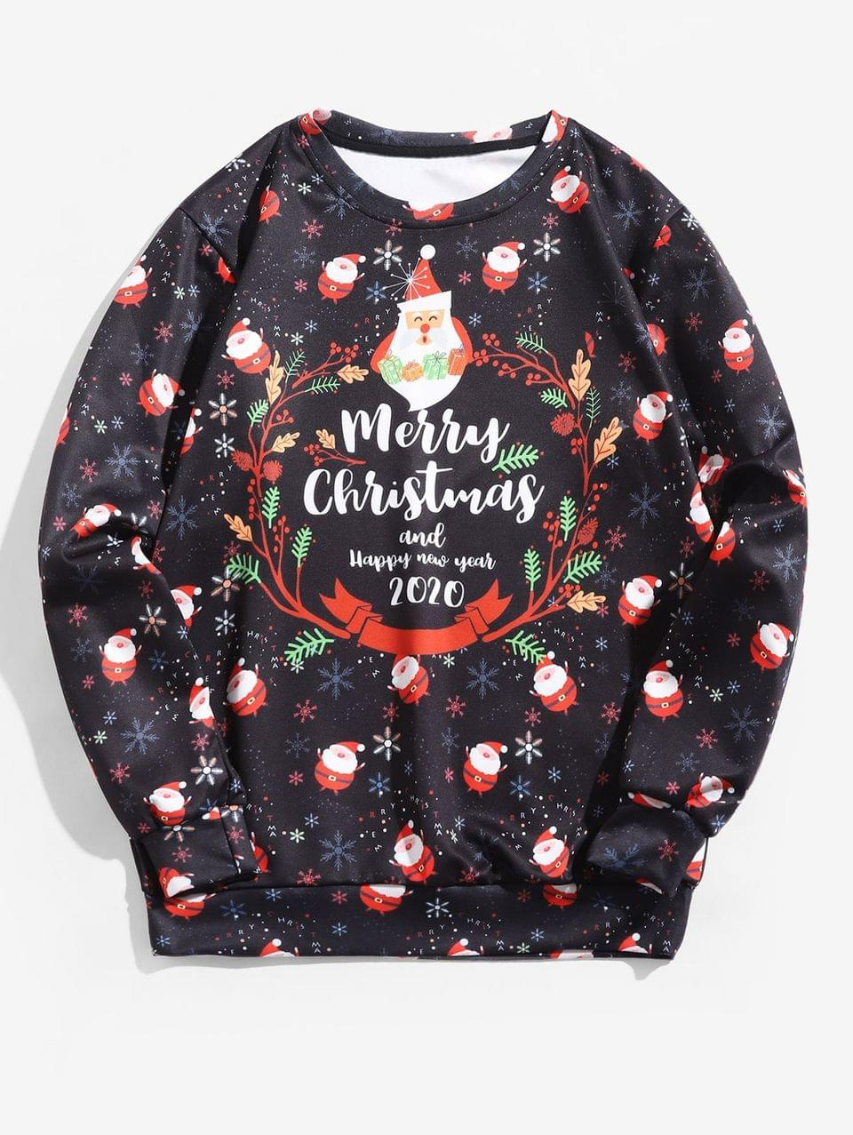Men's Santas Snowflakes Letter Graphic Christmas Sweatshirt - Multi 3xl
