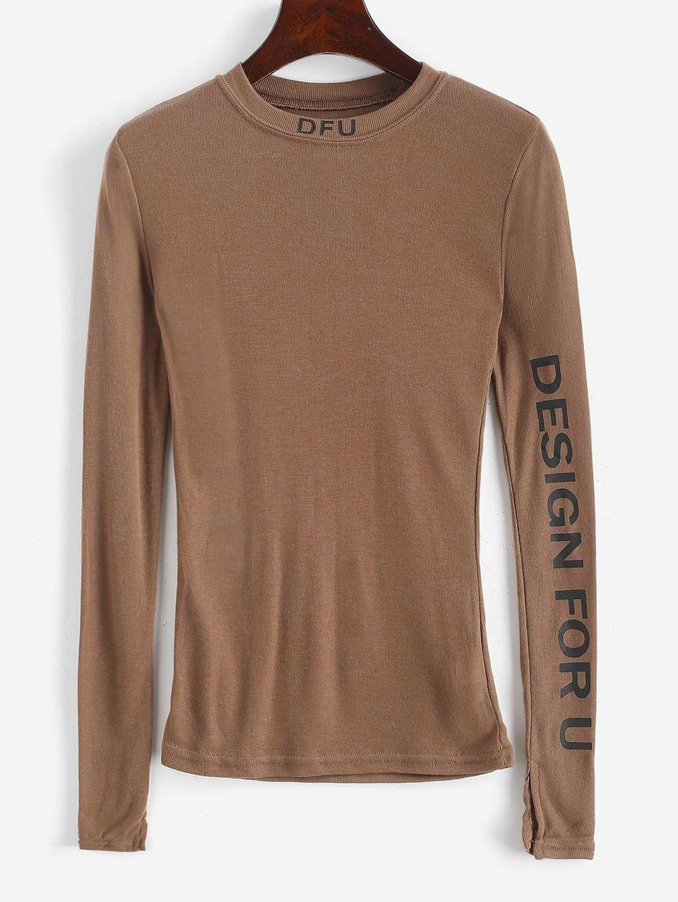 Women's Graphic Crew Neck Long Sleeve Slim Tee - Puce