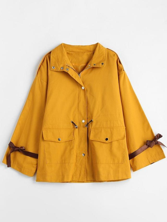 WOMEN Oversized Drawstring Waist Twill Coat - Mustard L