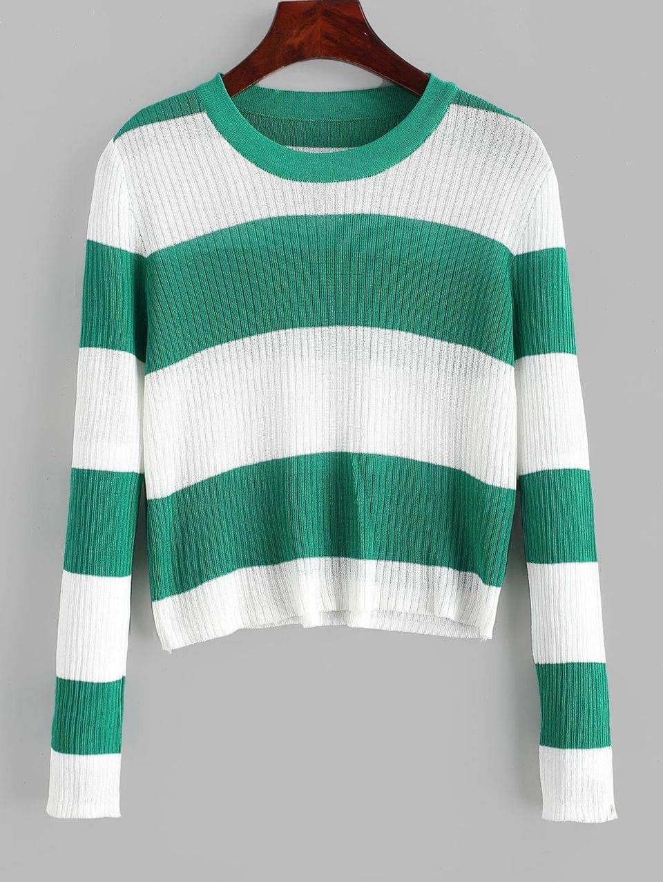 Women's Contrast Two Tone Striped Knitwear - Deep Green