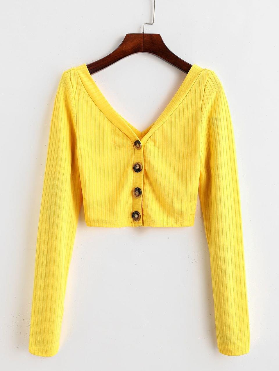 Women's Button Up Ribbed Cropped Top - Yellow L