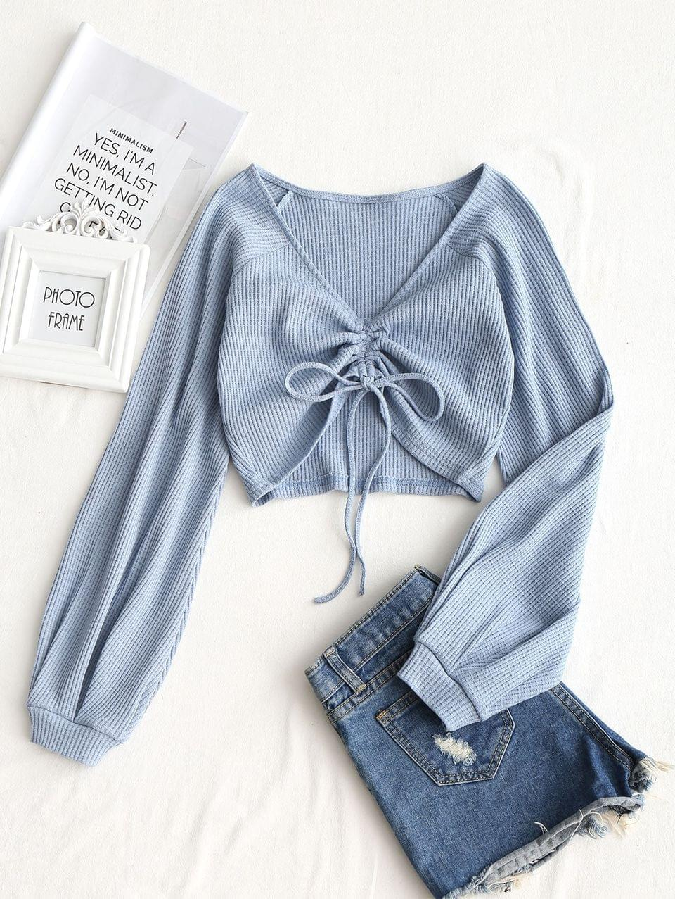 Women's Textured Knitted Gathered Top - Grey Blue S