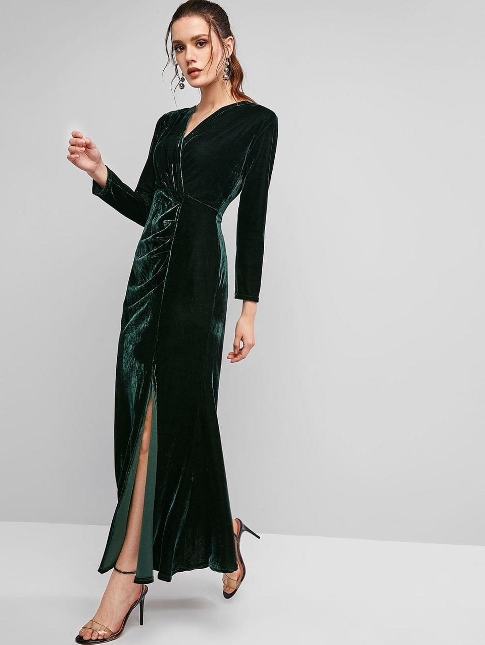 Women's Long Sleeve Velvet Draped Slit Maxi Dress - Dark Green M