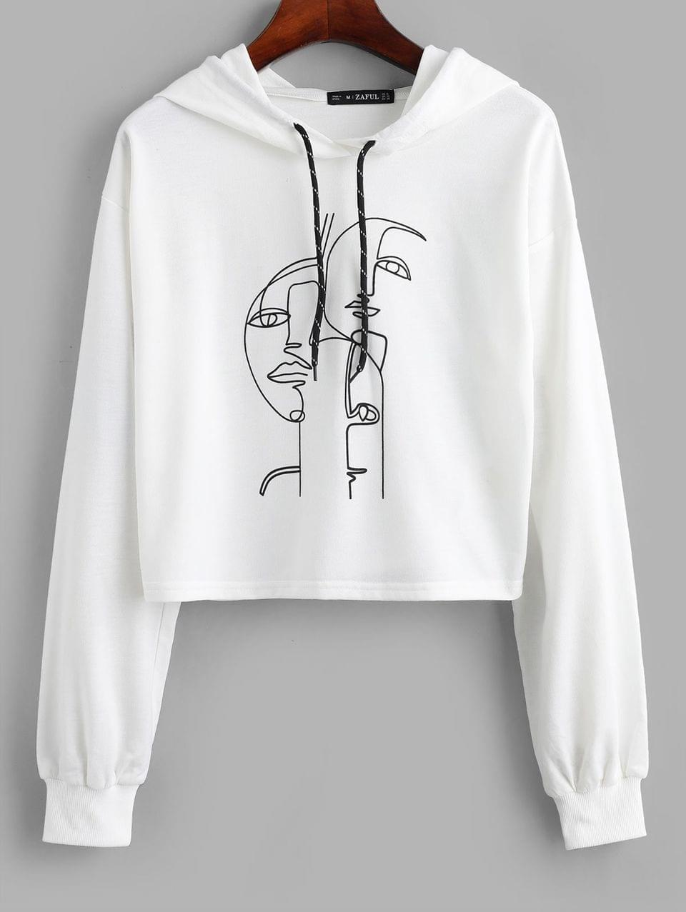 Women's Funny Graphic Drop Shoulder Pullover Hoodie - White S