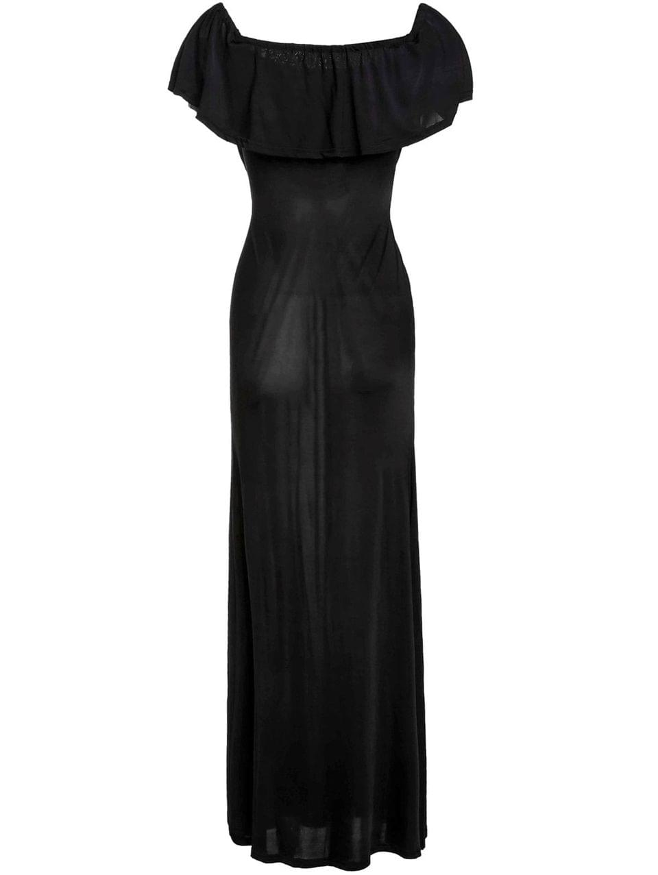 Women's Black Off The Shoulder Maxi Dress - Black L