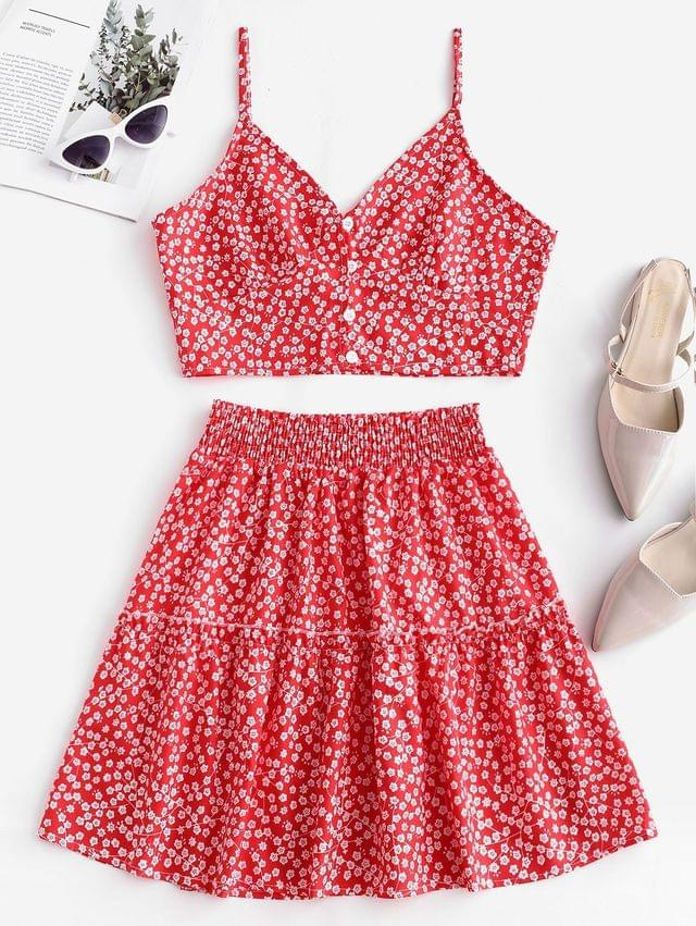 WOMEN Floral Print Buttoned A Line Skirt Set - Red S