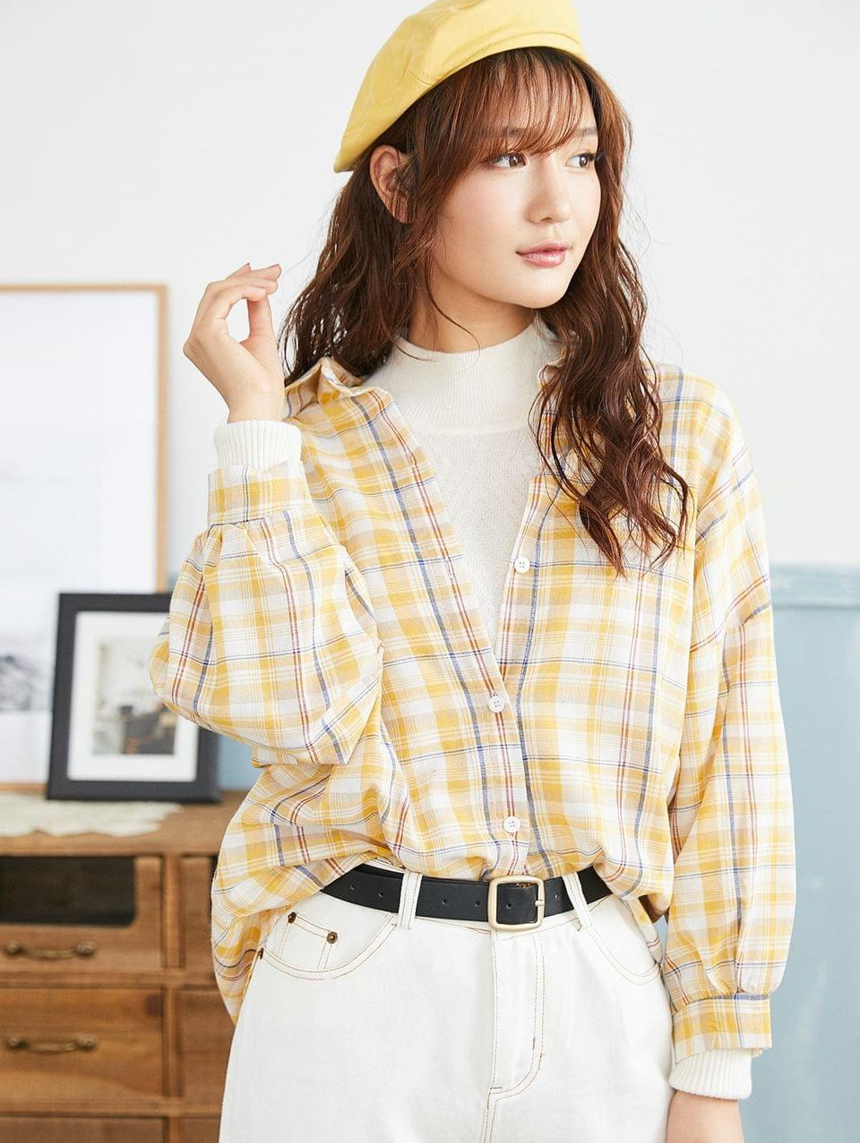 Women's Plaid Button Up High Low Shirt - Goldenrod