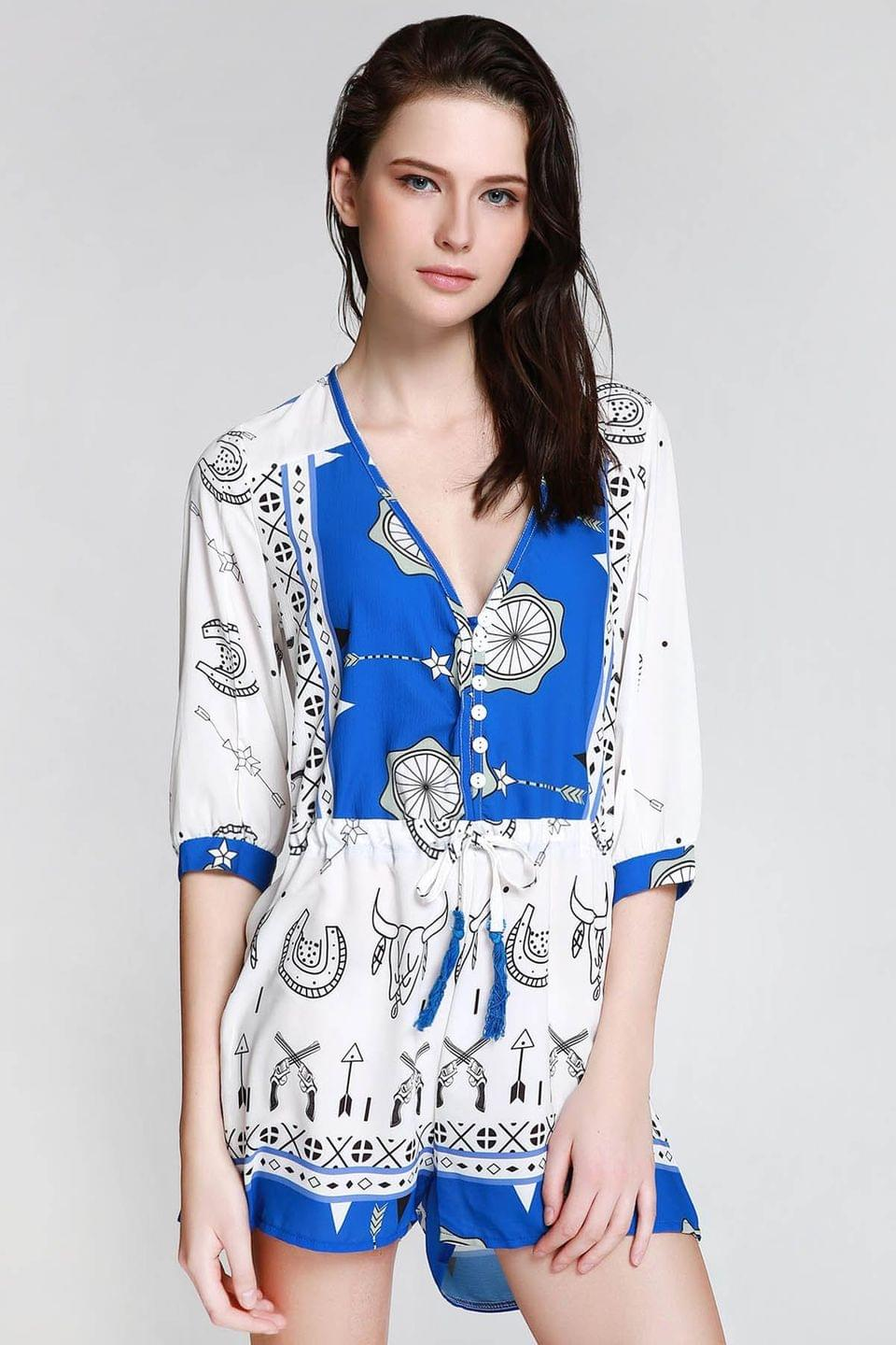 Women's Ethnic Print Plunging Neck 3/4 Sleeve Playsuit - Blue And White M