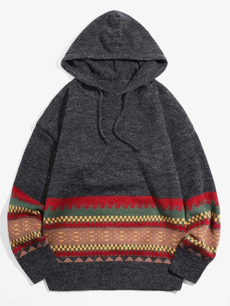 Men's Contrast Color Splicing Geometric Graphic Hooded Sweater - Black Xl