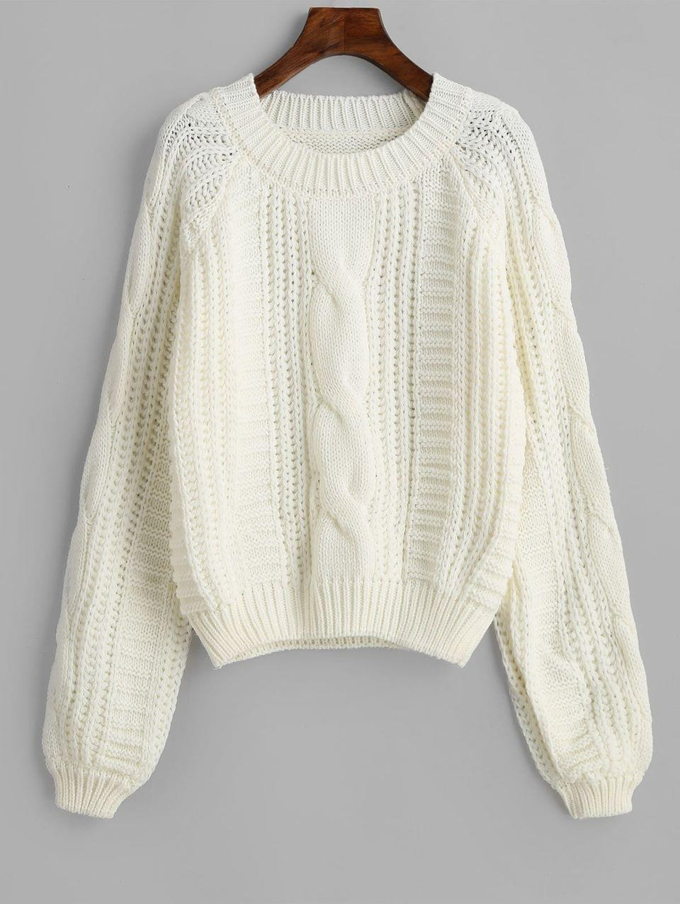 Women's Solid Crew Neck Raglan Sleeve Cable Knit Sweater - White