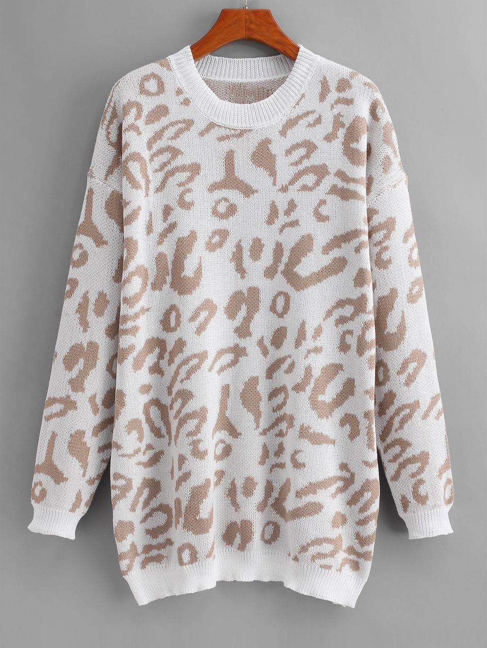Women's Leopard Print Drop Shoulder Longline Sweater - White Xl