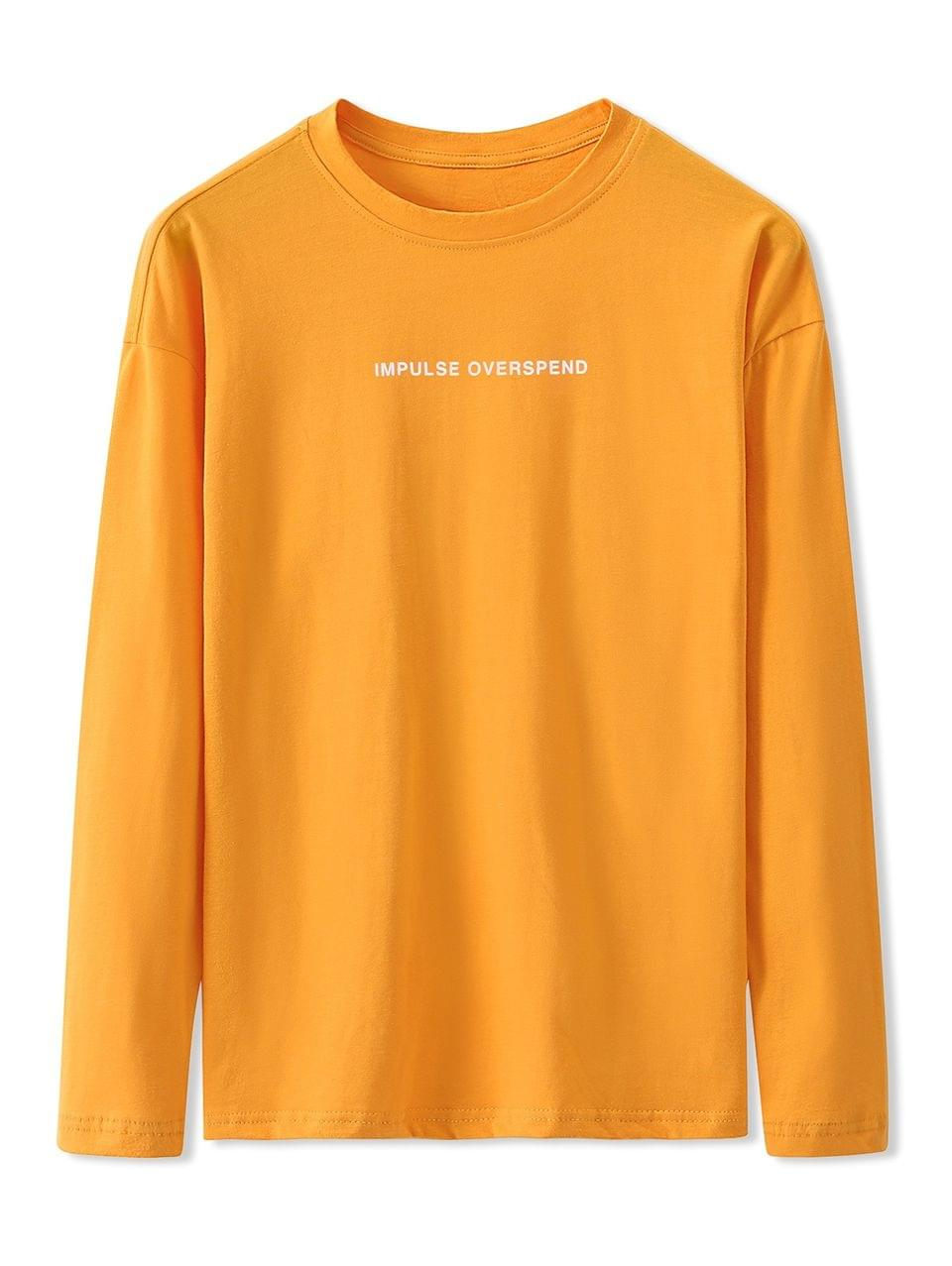 Men's Letter Graphic Print Long Sleeve Basic T-shirt - Bright Yellow M
