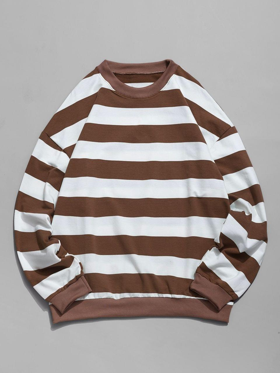 Men's Casual Striped Pattern Color Spliced Sweatshirt - Coffee 3xl