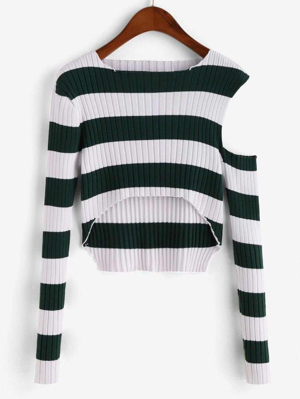 Women's Striped Ribbed Open Shoulder Cropped Sweater - Pine Green M