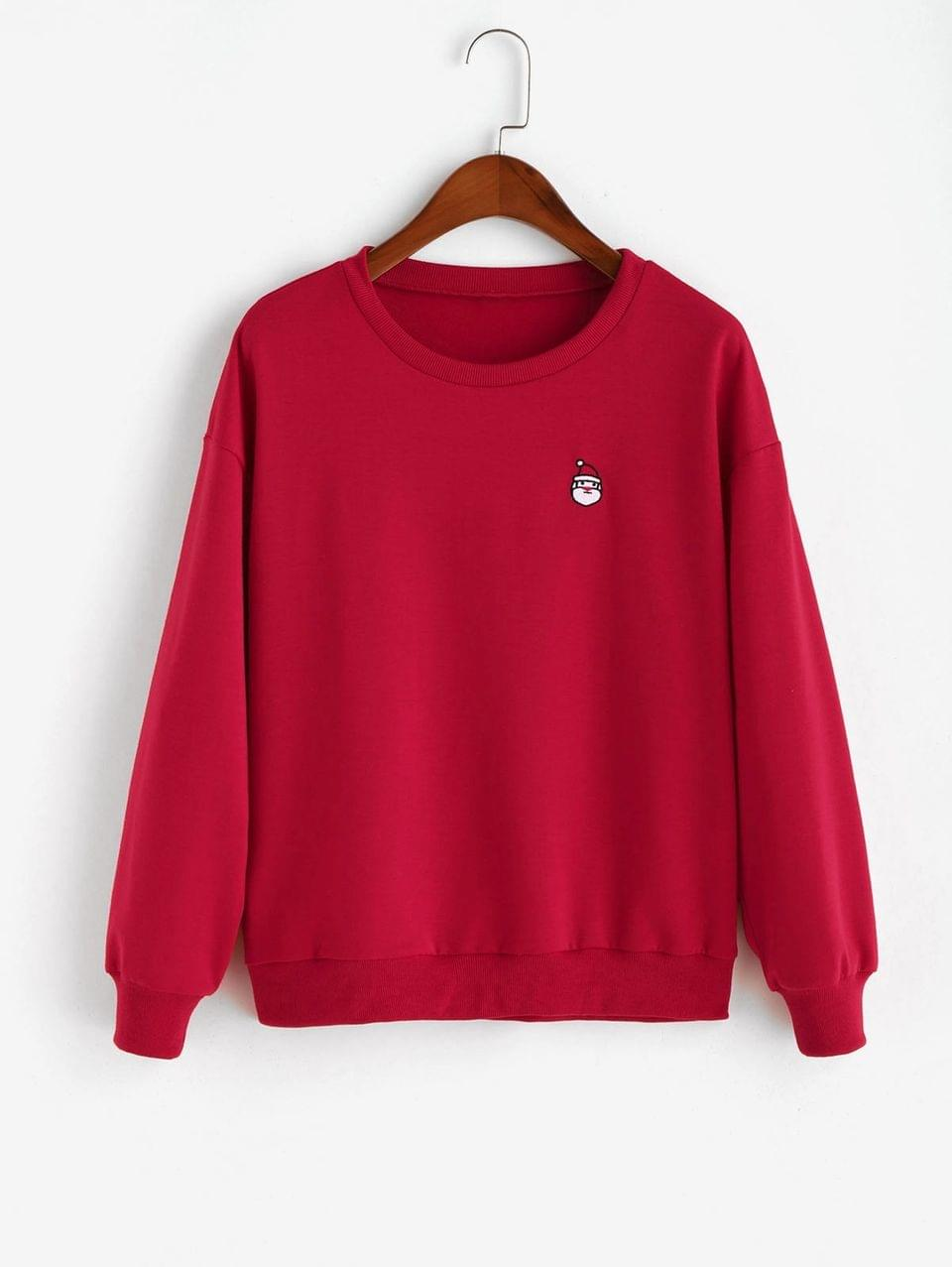 Women's Christmas Santa Embroidered Drop Shoulder Sweatshirt - Lava Red S