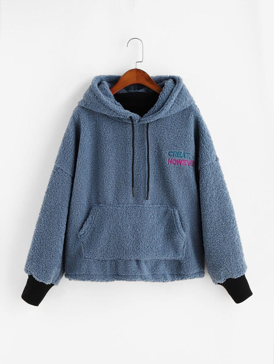 Women's Embroidered Kangaroo Pocket Teddy Fluffy Hoodie - Blue 2xl