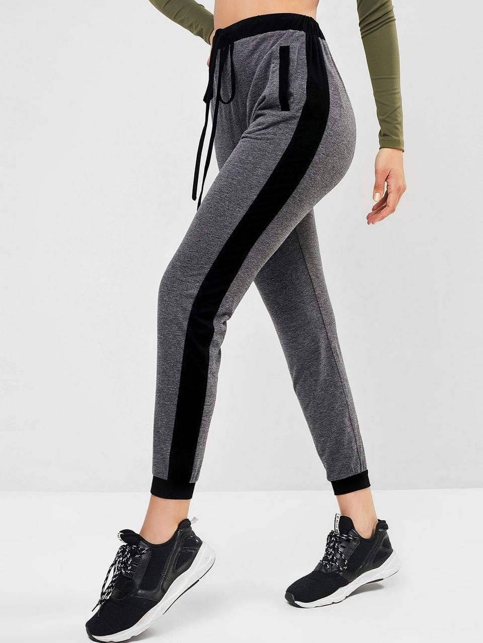 Women's Contrast Sideseam Jogger Pants - Gray Cloud L