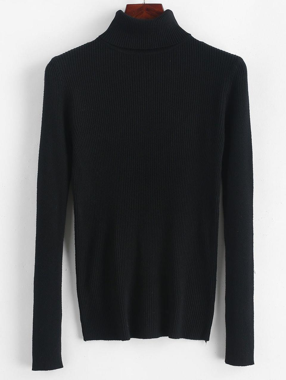 Women's Turtleneck Ribbed Slim Knit Plain Sweater - Black