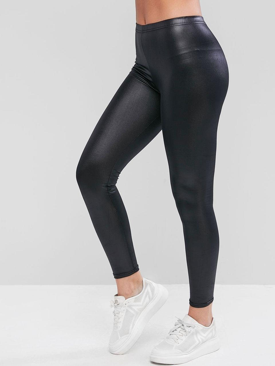 Women's Shiny Faux Leather Leggings - Black Xl