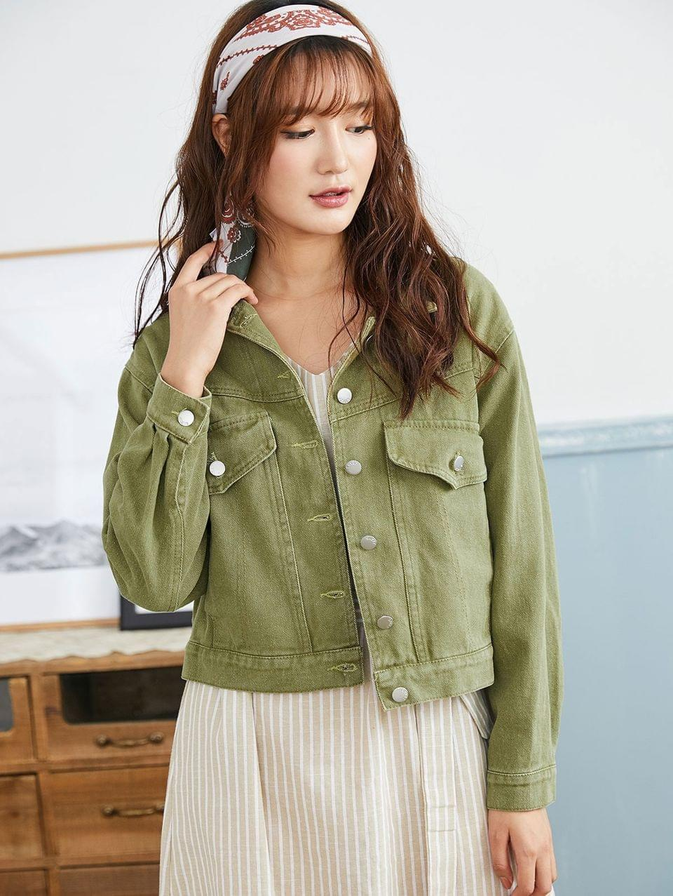 Women's Flap Pocket Single Breasted Denim Jacket - Camouflage Green M