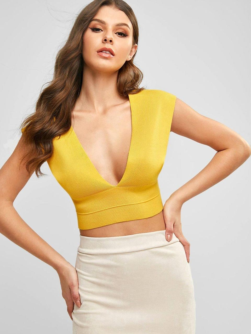 Women's Knitted Plunging Crop Tank Top - Yellow