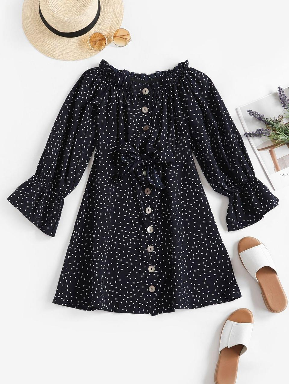 Women's Button Up Tie Front Dotted Long Sleeve Dress - Dark Slate Blue S