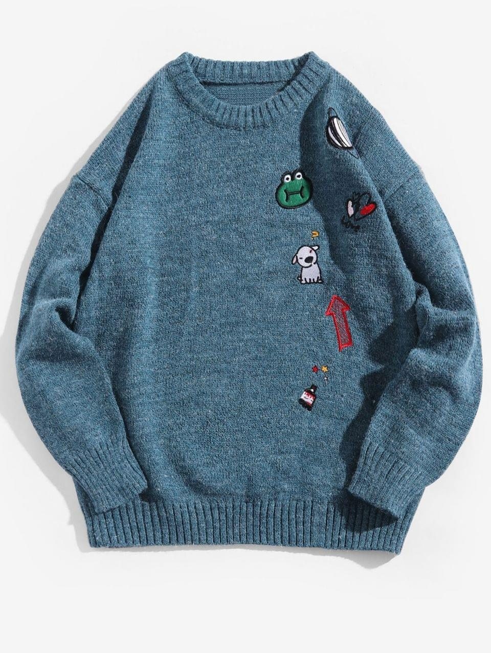 Men's Animal Planet Embroidery Graphic Crew Neck Sweater - Silk Blue M