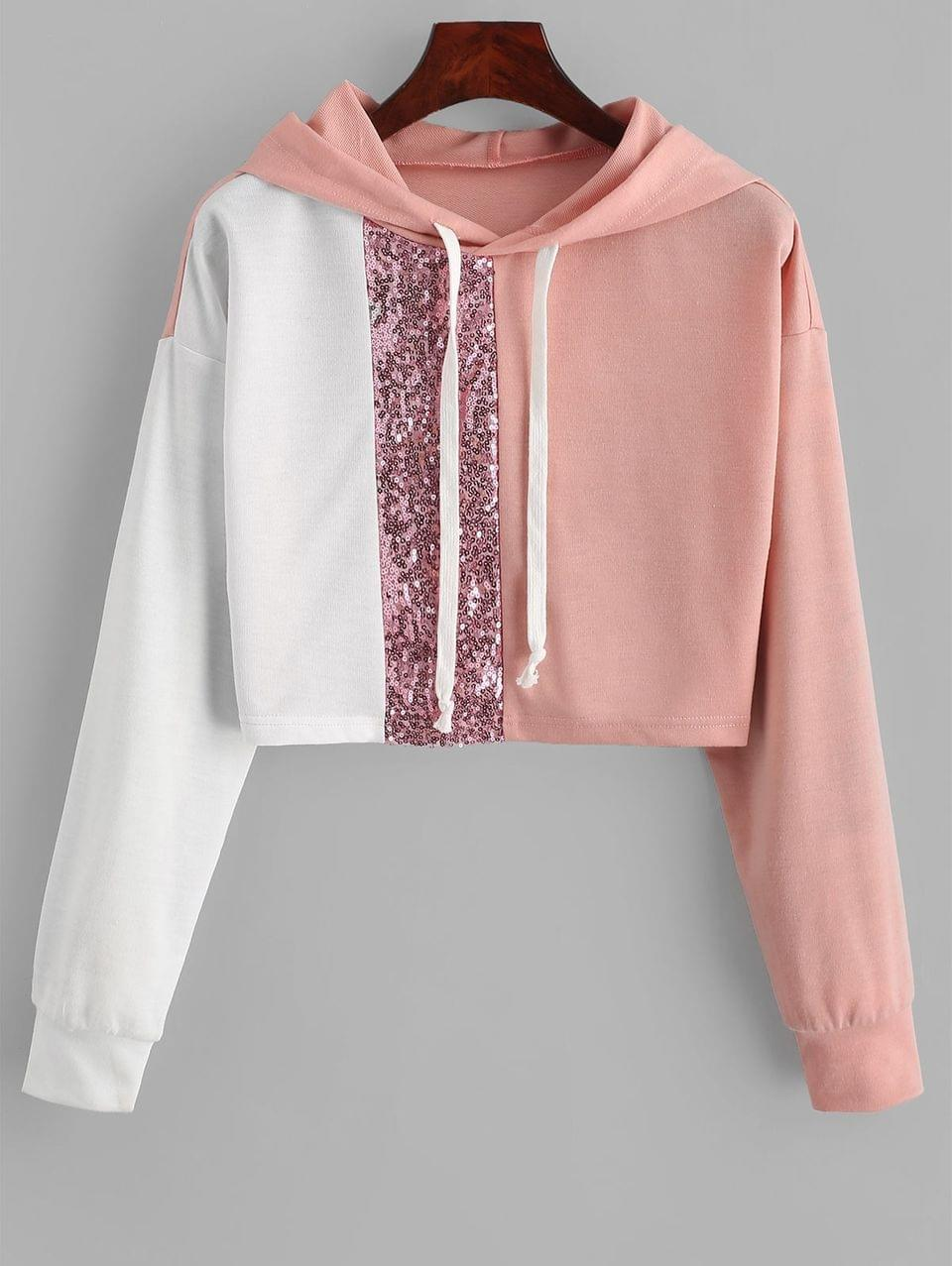 Women's Drawstring Sequined Colorblock Cropped Hoodie - Multi Xl