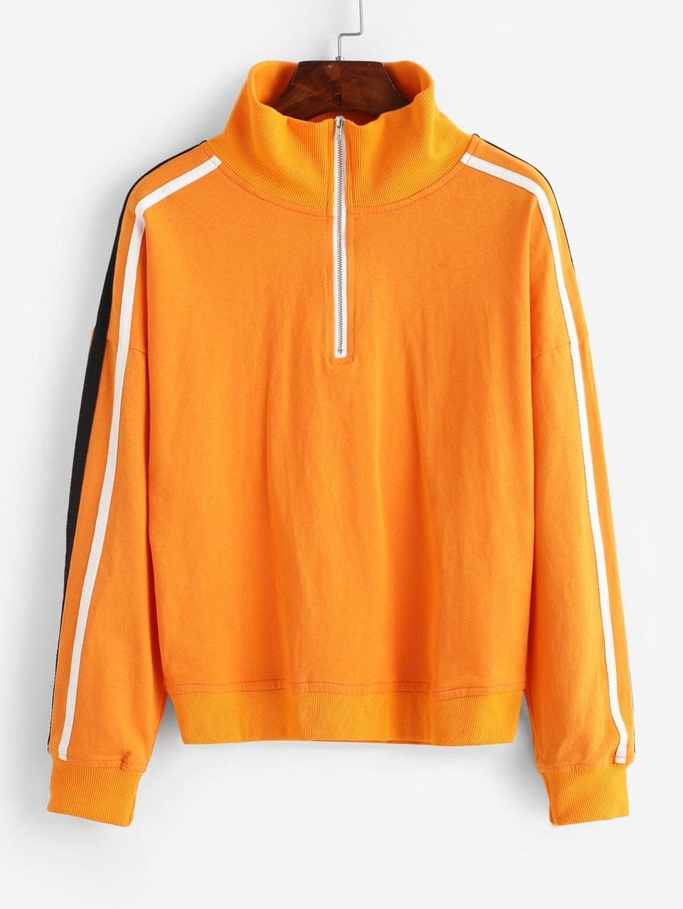 Women's Side Striped Half Zip Loose Sweatshirt - Pumpkin Orange L