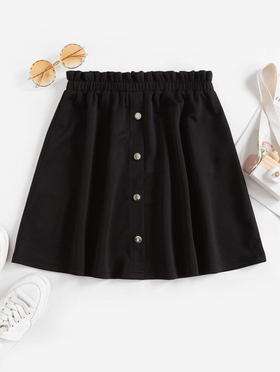 Women's Mock Button Ruffle Mini Skirt - Black L