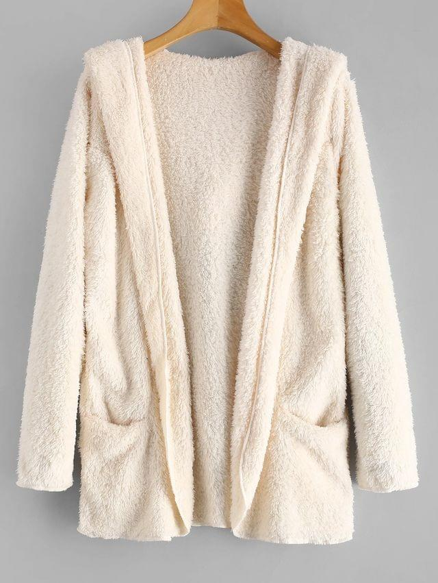 WOMEN Fluffy Hooded Open Front Teddy Coat - Warm White S