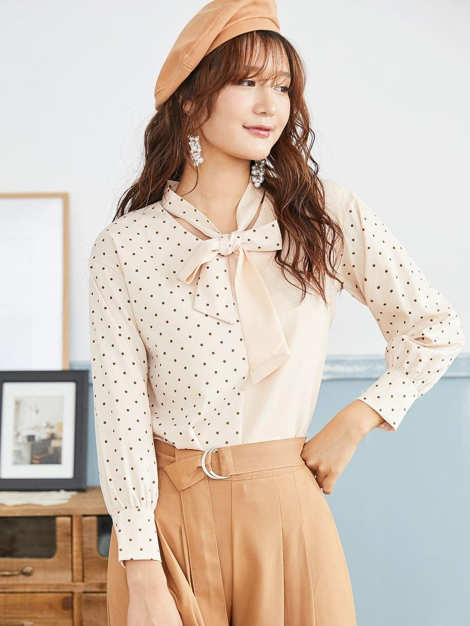 Women's Polka Dot Bow Tie Long Sleeve Blouse - Champagne L