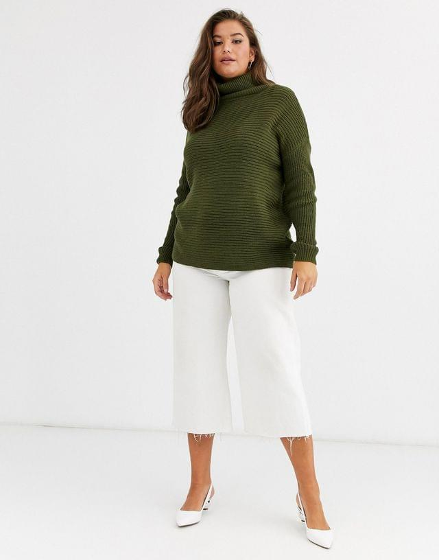 WOMEN Vero Moda Curve ribbed sweater with roll neck in khaki