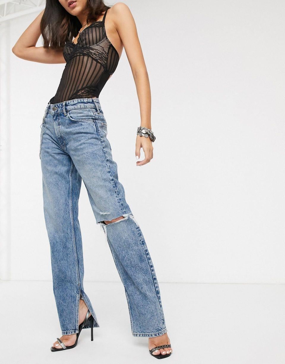 Women's Bershka rhinestone detail jeans in blue