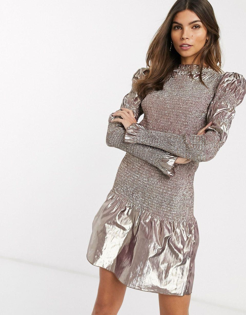 Women's & Other Stories metallic shirred mini dress in METALLIC rose