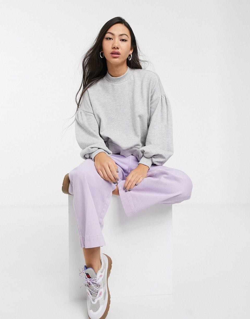 Women's Monki Mary sweatshirt with balloon sleeve in gray