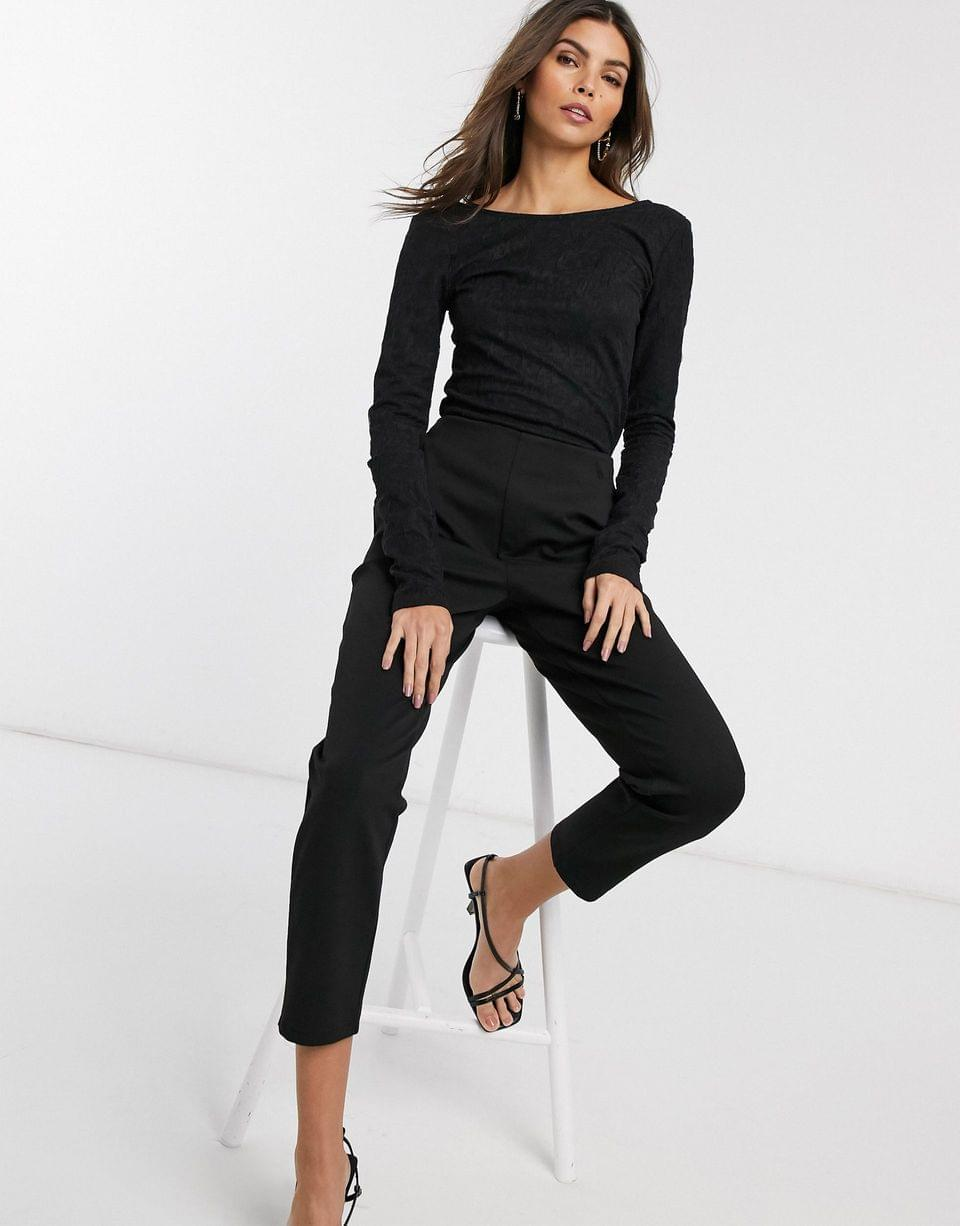 Women's & Other Stories textured low back long sleeve top in black