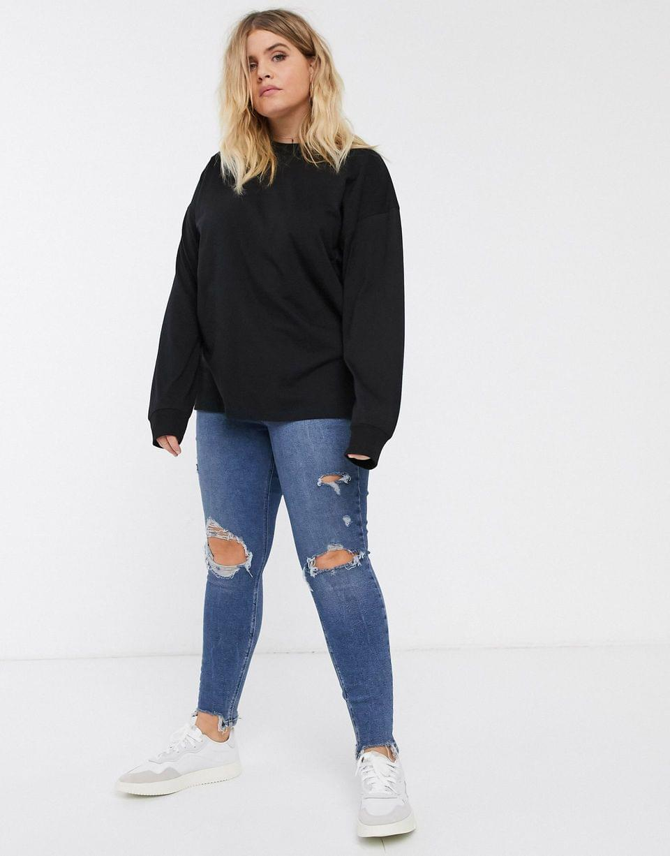 Women's Curve high neck long sleeve t-shirt with cuff in black