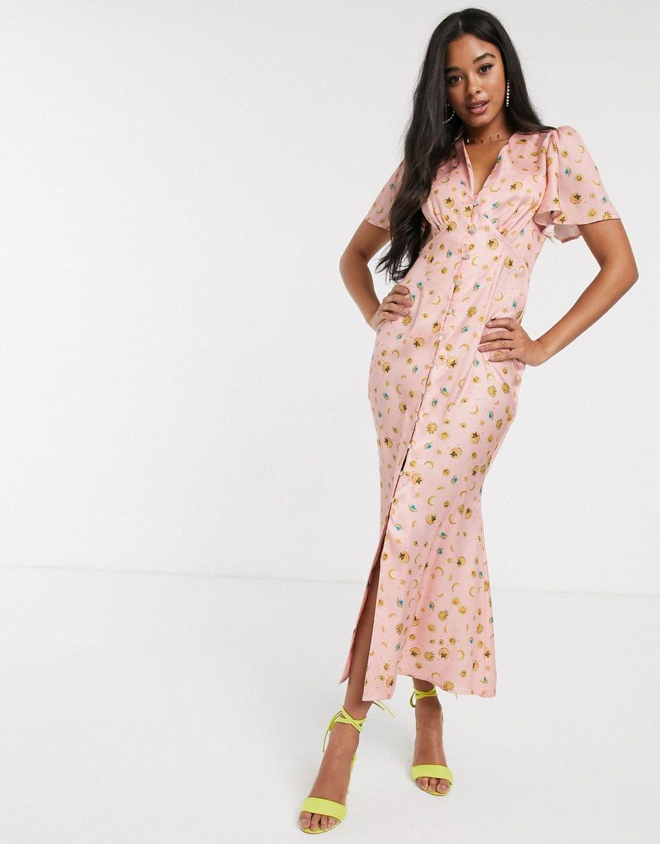 Women's Never Fully Dressed button through maxi dress in blush star print