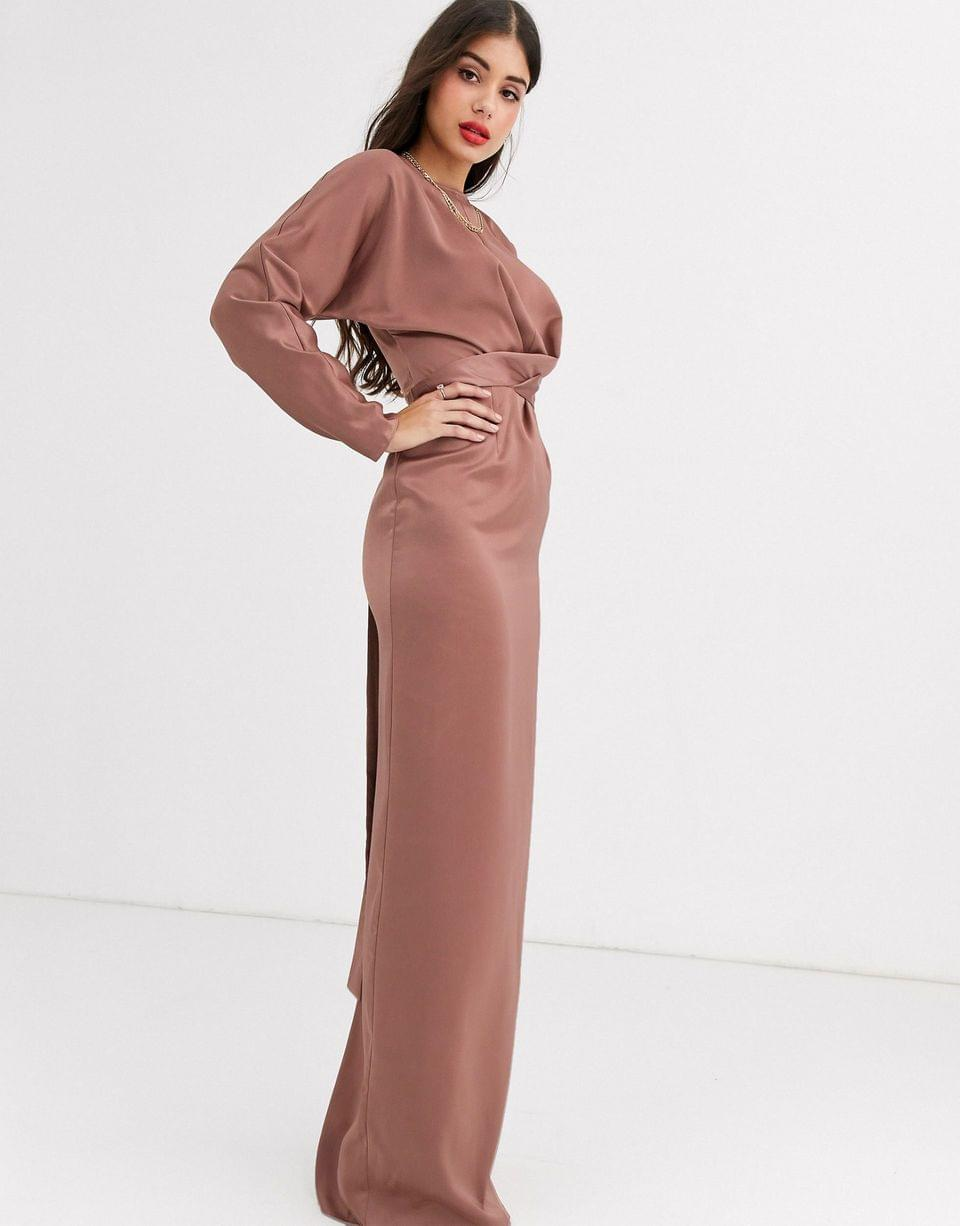 Women's Tall maxi dress with batwing sleeve and wrap waist in satin