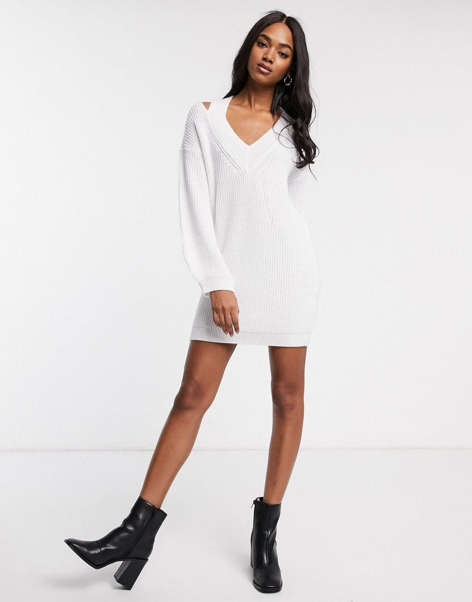 Women's cut out v neck sweater dress
