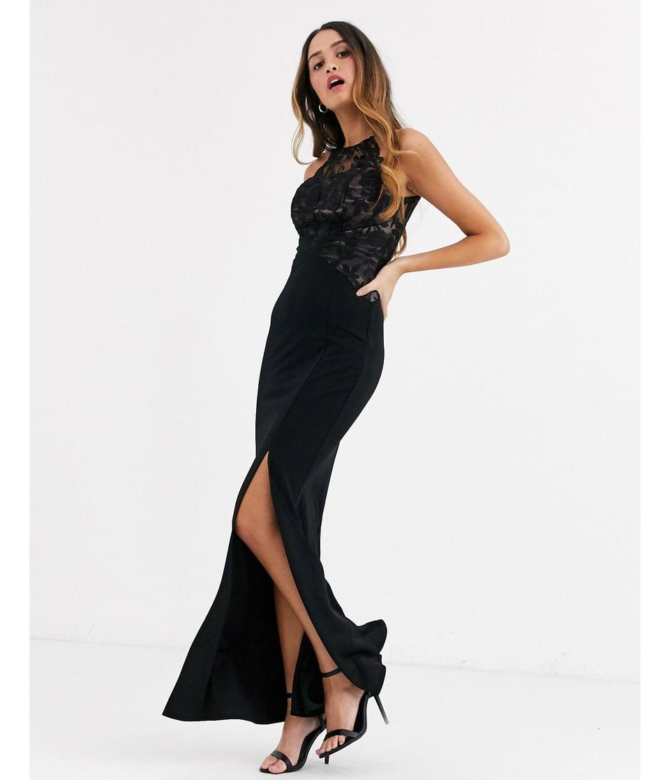 Women's Lipsy lace top high neck maxi dress in black