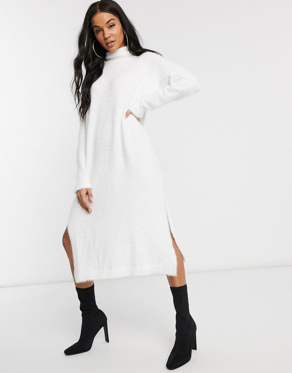 Women's Missguided knitted roll neck midaxi dress in white
