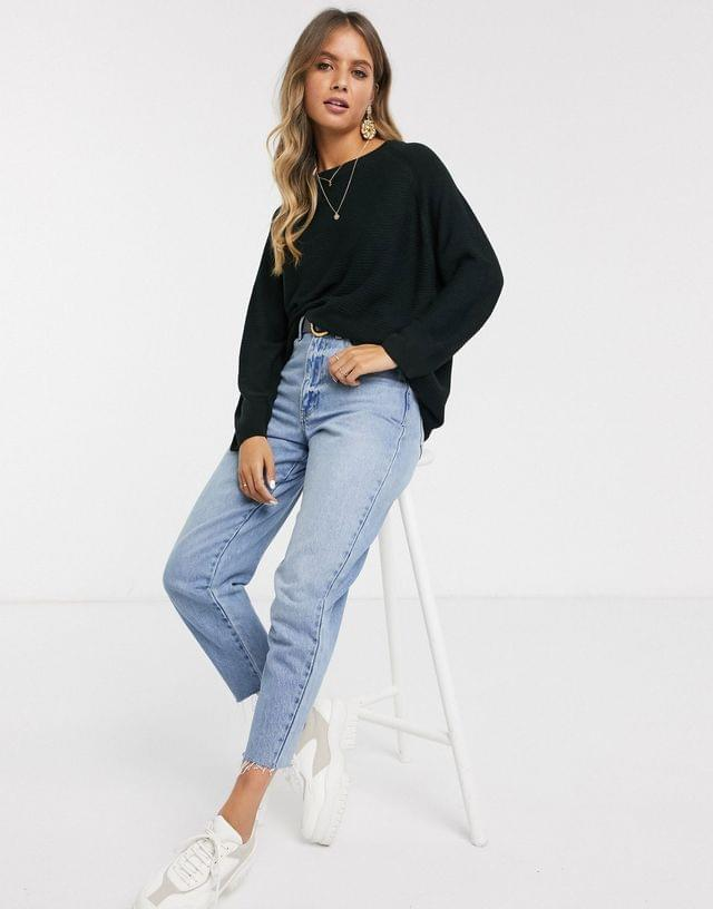 WOMEN JDY ribbed sweater with crew neck in black