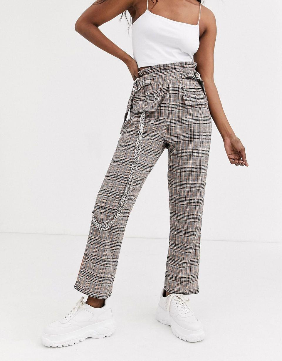 Women's check jacquard utility pants with pockets and chains