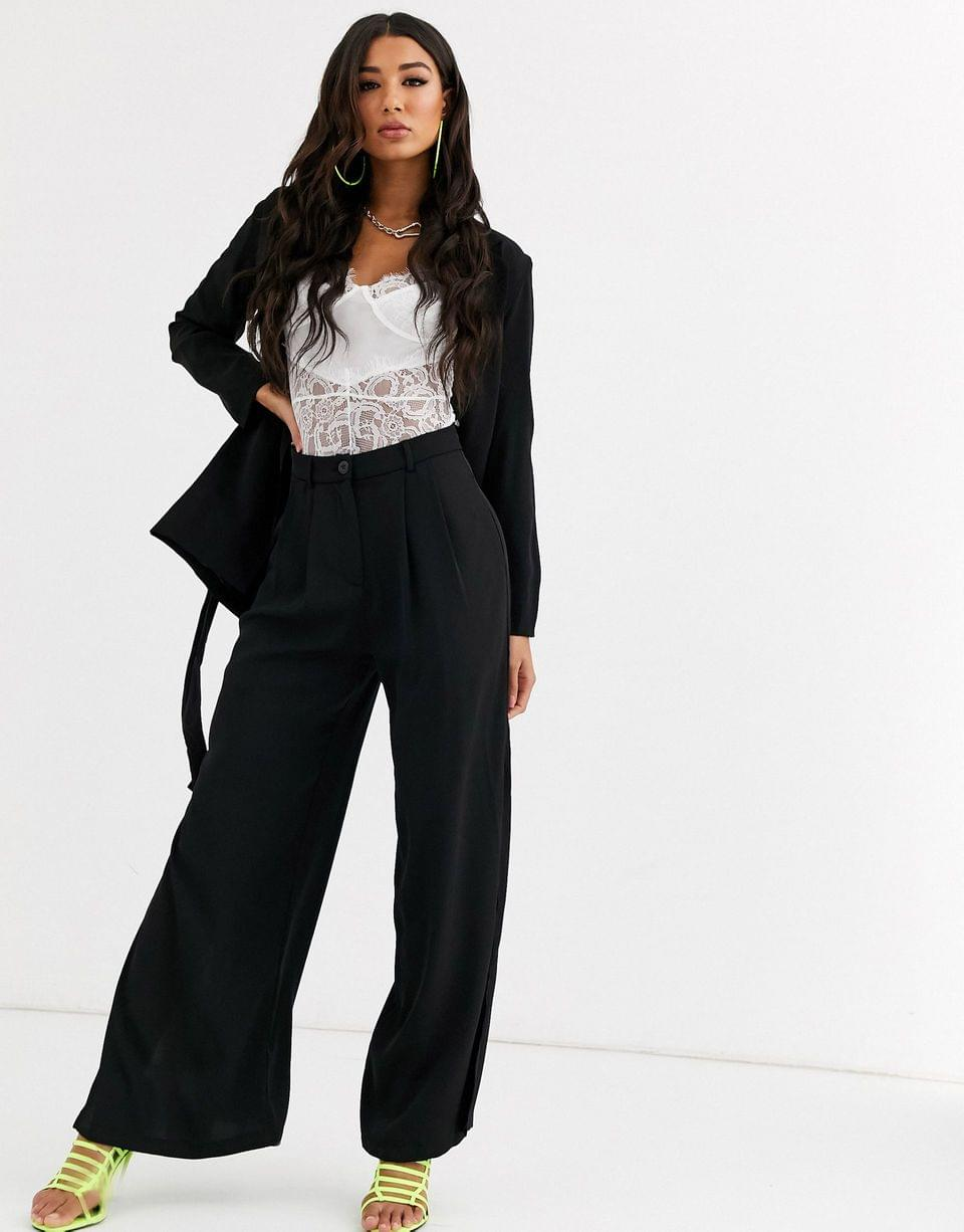 Women's Parallel Lines wide leg pants with split leg two-piece