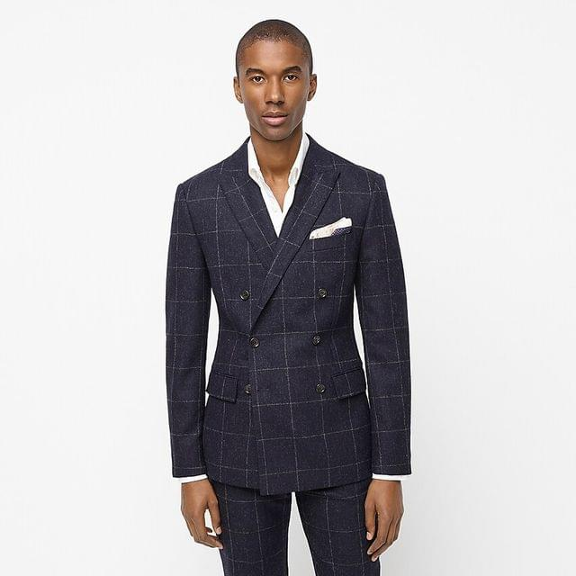 MEN Ludlow Slim-fit double-breasted suit jacket in windowpane English wool